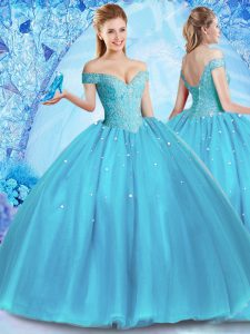 Fashionable Off the Shoulder Baby Blue Sleeveless Beading Floor Length Sweet 16 Dress