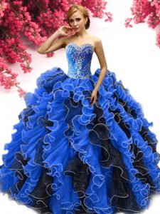 Glorious Blue And Black Vestidos de Quinceanera Sweetheart Sleeveless Lace Up