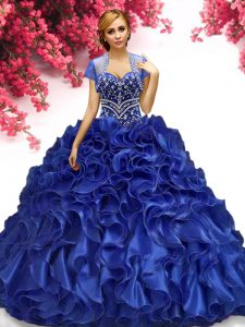 Floor Length Ball Gowns Sleeveless Royal Blue Vestidos de Quinceanera Lace Up