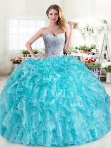 Floor Length Aqua Blue Quinceanera Dresses Organza Sleeveless Beading and Ruffles