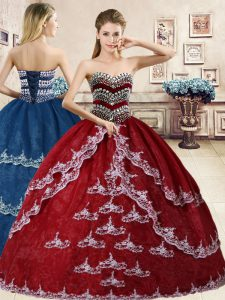 Wine Red Ball Gowns Sweetheart Sleeveless Organza Floor Length Lace Up Beading and Appliques Sweet 16 Quinceanera Dress