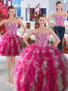 Three Piece White and Hot Pink Lace Up Sweetheart Beading Sweet 16 Dress Organza Sleeveless