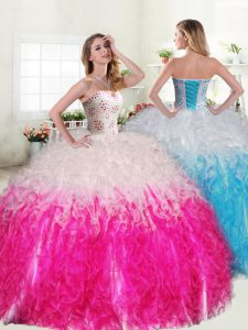 Simple Sleeveless Lace Up Floor Length Beading and Ruffles Sweet 16 Dress