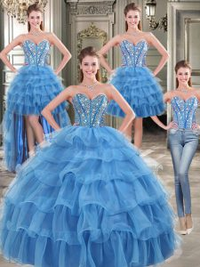 Designer Four Piece Ruffled Floor Length Blue Sweet 16 Dress Sweetheart Sleeveless Lace Up