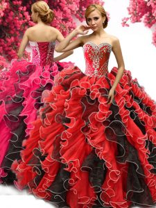 Ideal Red And Black Sweetheart Lace Up Beading and Ruffles 15 Quinceanera Dress Sleeveless