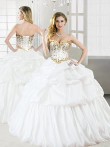 Adorable White Sleeveless Beading and Pick Ups Floor Length Quince Ball Gowns