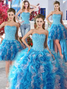 Smart Four Piece Organza Sleeveless Floor Length Vestidos de Quinceanera and Beading