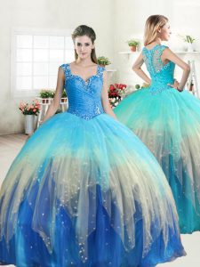 Excellent Ball Gowns Sweet 16 Dress Multi-color Straps Tulle Sleeveless Floor Length Zipper
