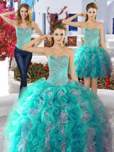 Romantic Three Piece Sweetheart Sleeveless Lace Up Sweet 16 Dresses Multi-color Organza