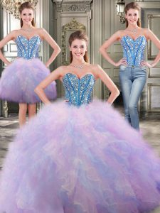Three Piece Sleeveless Beading and Ruffles Lace Up 15th Birthday Dress