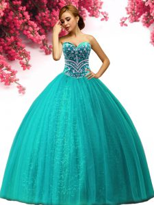 Beading Vestidos de Quinceanera Turquoise Lace Up Sleeveless Floor Length