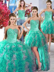 Modest Four Piece Sleeveless Floor Length Beading Lace Up Quinceanera Gowns with White and Turquoise