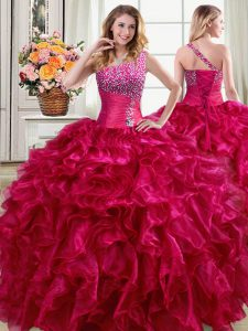 Dramatic Fuchsia Sweet 16 Dress Military Ball and Sweet 16 and Quinceanera with Beading and Ruffles One Shoulder Sleeveless Lace Up