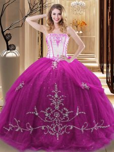 Beauteous Fuchsia Sweet 16 Quinceanera Dress Military Ball and Sweet 16 and Quinceanera with Embroidery Strapless Sleeveless Lace Up
