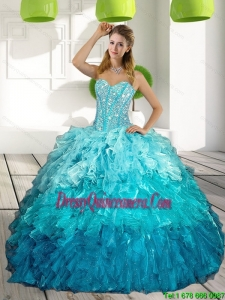 2015 Sweetheart Multi Color Quinceanera Gown with Ruffles and Beading