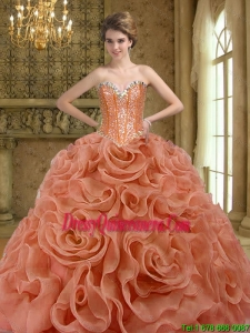 2015 Luxurious Beading and Rolling Flowers Rust Red Quinceanera Gown