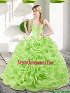 Luxurious Beading and Rolling Flowers Spring Green 2015 Quinceanera Dresses