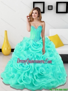 Luxurious Beading and Rolling Flowers Sweetheart Light Blue Sweet 15 Dresses for 2015