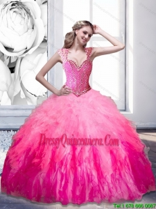 Luxurious Beading and Ruffles 2015 Sweetheart Quinceanera Dresses in Multi Color