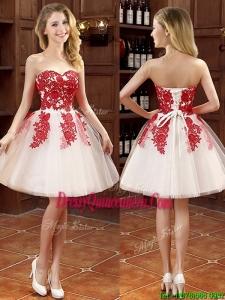 Hot Sale Mini Length Appliques Dama Dress in White