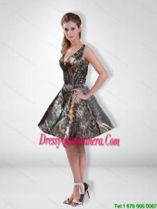 Affordable A Line V Neck Beading Camo Dama Dresses with Knee Length