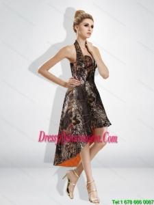 Fashionable High Low Halter Top Camo Dama Dresses in Multi Color