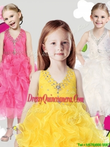 Cheap Halter Top Little Girl Pageant Dress with Beading and Ruffles