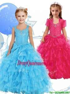 Romantic Straps Little Girl Pageant Dress with Beading and Ruffled Layers