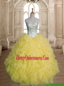 Discount Beaded and Ruffled Organza Quinceanera Dress in Yellow