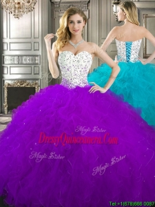 Best Beaded and Ruffled Quinceanera Dress in Purple and White