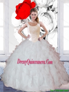 Delicate Ball Gown Ruffles and Beaded Quinceanera Dresses for 2015