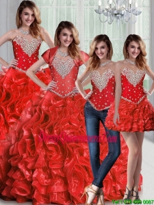 Pretty Sweetheart Red Perfect Sweet 15 Dresses with Beading and Ruffles