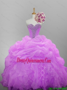 2015 Fall Pretty Sweetheart Quinceanera Dresses with Beading and Ruffled Layers