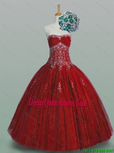 2015 Fall Elegant Strapless Sweet 16 Dresses with Beading and Appliques