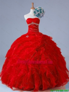 2015 Fall Pretty Strapless Quinceanera Dresses with Beading and Ruffles
