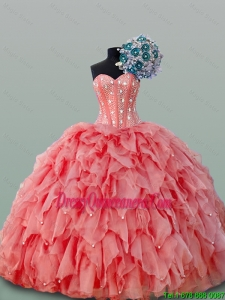 2015 Fall Perfect Sweetheart Quinceanera Dresses with Beading