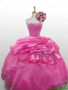 2015 Fall Elegant Sweetheart Rose Pink Quinceanera Dresses with Paillette