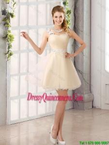 2016 Decent Straps Appliques Dama Dresses with Mini Length
