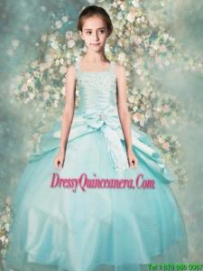 2015 Winter Popular Straps Beaded Mini Quinceanera Dresses in Aqua Blue