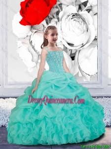 Lovely Straps Turquoise Organza Mini Quinceanera Dresses for 2016