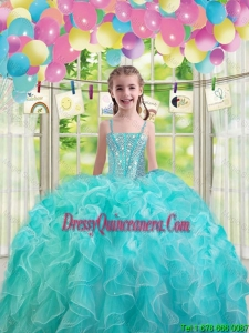 2015 Winter Lovely Aqua Blue Mini Quinceanera Dresses with Ruffles and Beading