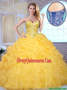 Elegant Yellow 2016 Fabulous Quinceanera Gowns with Beading and Ruffles
