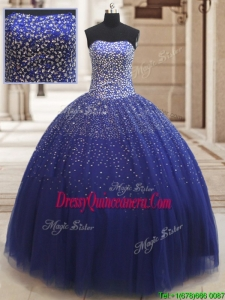 Popular Really Puffy Beaded Bodice Tulle Quinceanera Dress in Royal Blue