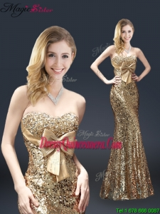 Fall Column Sequins Dama Dresses with Bowknot in Gold