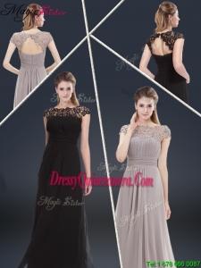 2016 Elegant Empire Cap Sleeves Beading and Ruching Dama Dresses