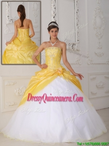 Classic Ball Gown Appliques and Hand Made Flower Quinceanera Dresses
