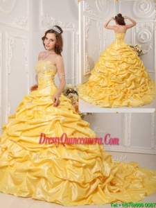 Classic Ball Gown Court Train Appliques and Beading Quinceanera Dresse