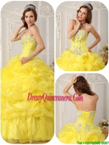 Designer Beading and Ruffles Quinceanera Gowns in Yellow