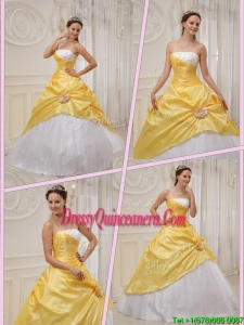 Exclusive Ball Gown Strapless Quinceanera Dresses in Yellow