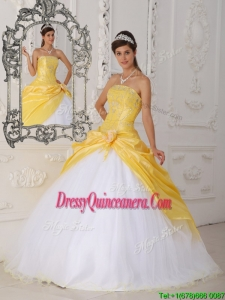 Exclusive Hand Made Flower Quinceanera Dresses in Yellow and White